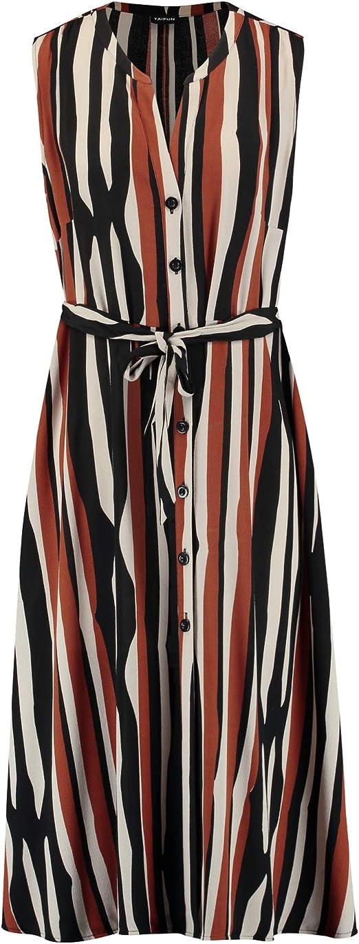 Taifun Damen Sommerkleid Im Streifen Design Ausgestellt Figurumspielend Tailliert Amazon De Bekleidung