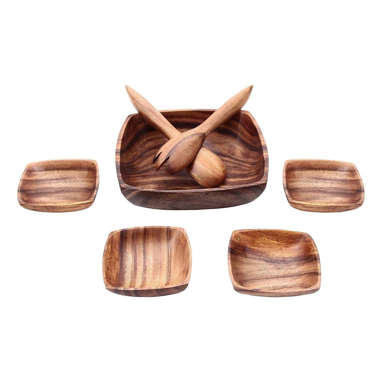 パッチ評価する続ける不二貿易 ボウル スプーン フォーク6点セット ブラウン アカシア 天然木 割れにくい 軽量 木製 食器 四角 94494