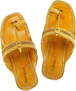KALAPURI Womens Comfortable Cusioned Kolhapuri Chappal in Genuine Leather with Brown Pointed Shape Base and Traditional Fi...