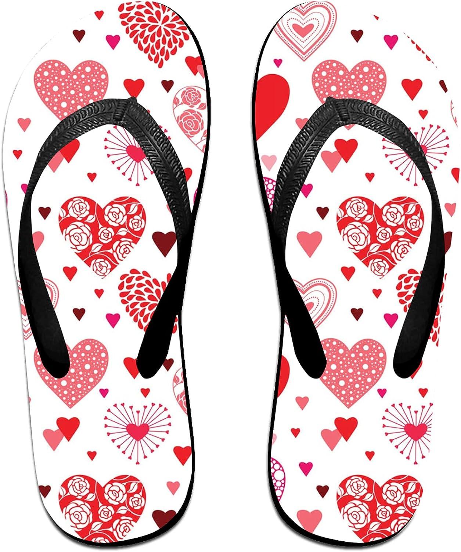Various Love Hearts Flip-Flop Sandals for Summer Beach, Slippers for Men Women