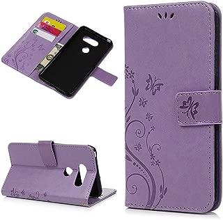 LG V30 Case, LG V30 Plus Case, LG V30s Case Wallet Flip Floral Butterfly Magnetic Kickstand Leather Cover Flexible Skin Stylus Dust Plug Wristlet Strip for LG V30 / LG V30 Plus/LG V30s - Purple