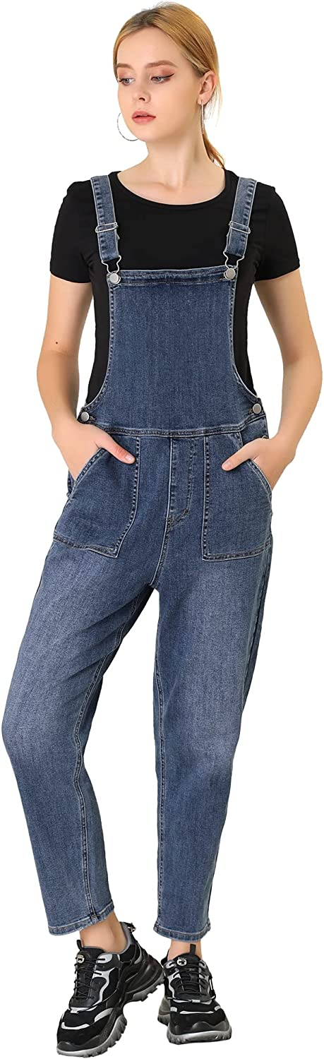 Allegra K Women's famous Casual Stretchy Adjustable Over Denim Bib In a popularity Long
