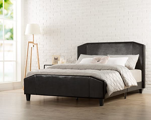 Zinus Sculpted Faux Leather Upholstered Platform Bed With Footboard And Wooden Slats Full Espresso