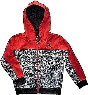 NIKE Air Jordan Little Boys Jumpman Red and Black Print Full Zip Therma-Fit Hoodie