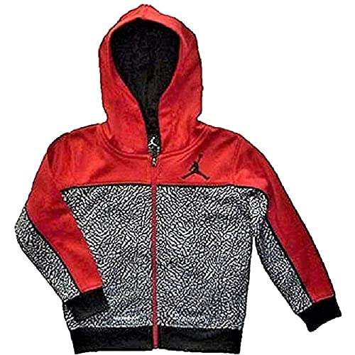 af7e235cf48 NIKE Air Jordan Little Boys Jumpman Red and Black Print Full Zip Therma-Fit  Hoodie