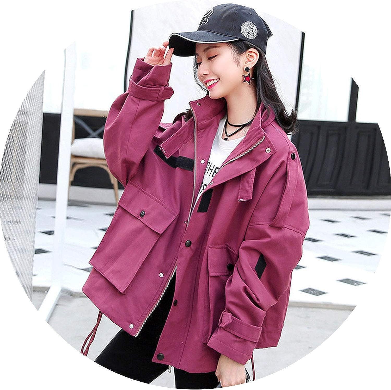 Women's Short Coat New Korean Large Size Tooling Shirt Girls Loose Casual Jacket,Purple red,S