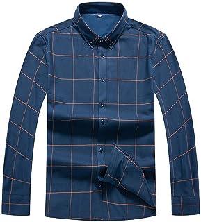 7d3eb2cb15a Anhon Plus Size 8XL 7XL 6XL Mens Business Casual Long Sleeves Shirt Men  Shirt Classic Plaid
