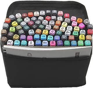 L-JUWA マーカーペン イラストマーカー 80色セット スケッチブック付き 二つのペン先 塗り絵、描画、落書き、学習用 収納ケース付き (80色+スケッチブック) …