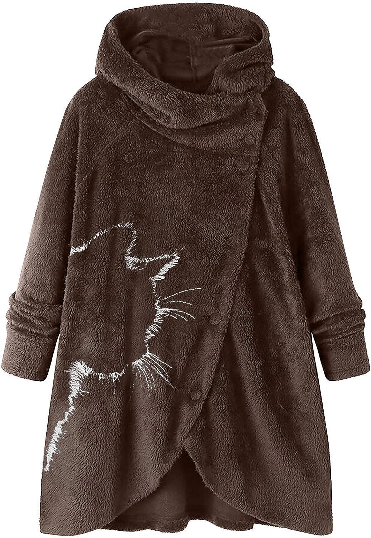 Women's Winter Hooded Sweatshirt Jacket Coat Cardigan Outwear Shaggy Sleeve