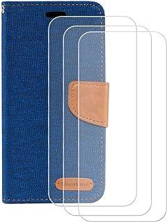 YZKJ Cover till Alcatel 1B 2020 (5,5 tum) fodral [3 st] pansarglas skyddande film flip PU läder fodral mobiltelefonfodral ...
