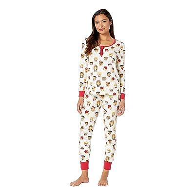 BedHead Pajamas Long Sleeve Henley Pajama Set (Classy Cats) Women