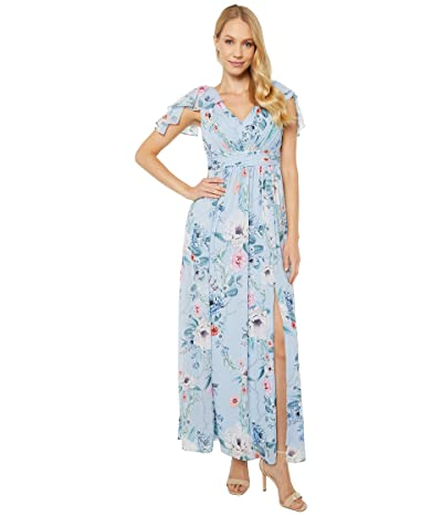 Adrianna Papell Petite Printed Chiffon Gown (Glacier Multi) Women