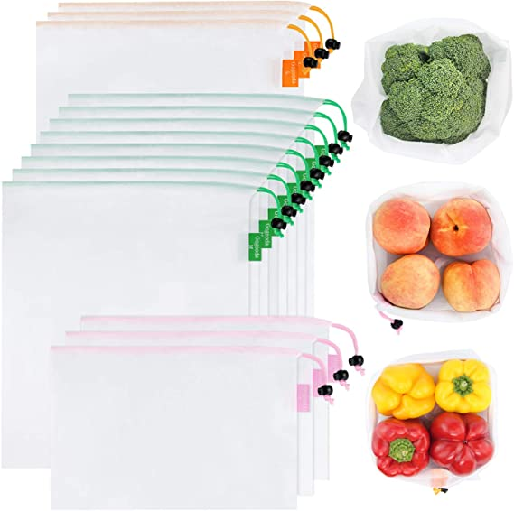 GOGOODA 15 Pcs Premium Reusable Produce Bags