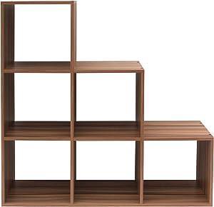 Rebecca Mobili Scaffale da Terra Marrone, libreria scalare Marrone, 6 scompartimenti, Legno, per Ordine casa Studio - Misure: 106 x 105 x 33 cm (HxLxP) - Art. RE6043
