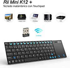 Rii K12 Mini - Teclado con touchpad (WiFi 2.4 GHz, USB, Acero Inoxidable), Color Negro - QWERTY Español