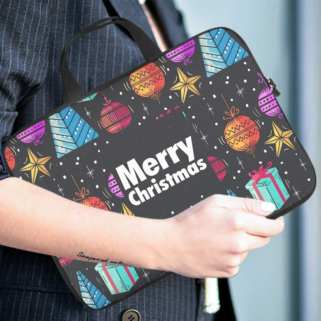Christmas Tree Decorative Balls Laptop Sleeve Personalized Graphic Laptop Computer Sleeve Water Resistant Polyester Laptop Sleeve for College Students White 13inch