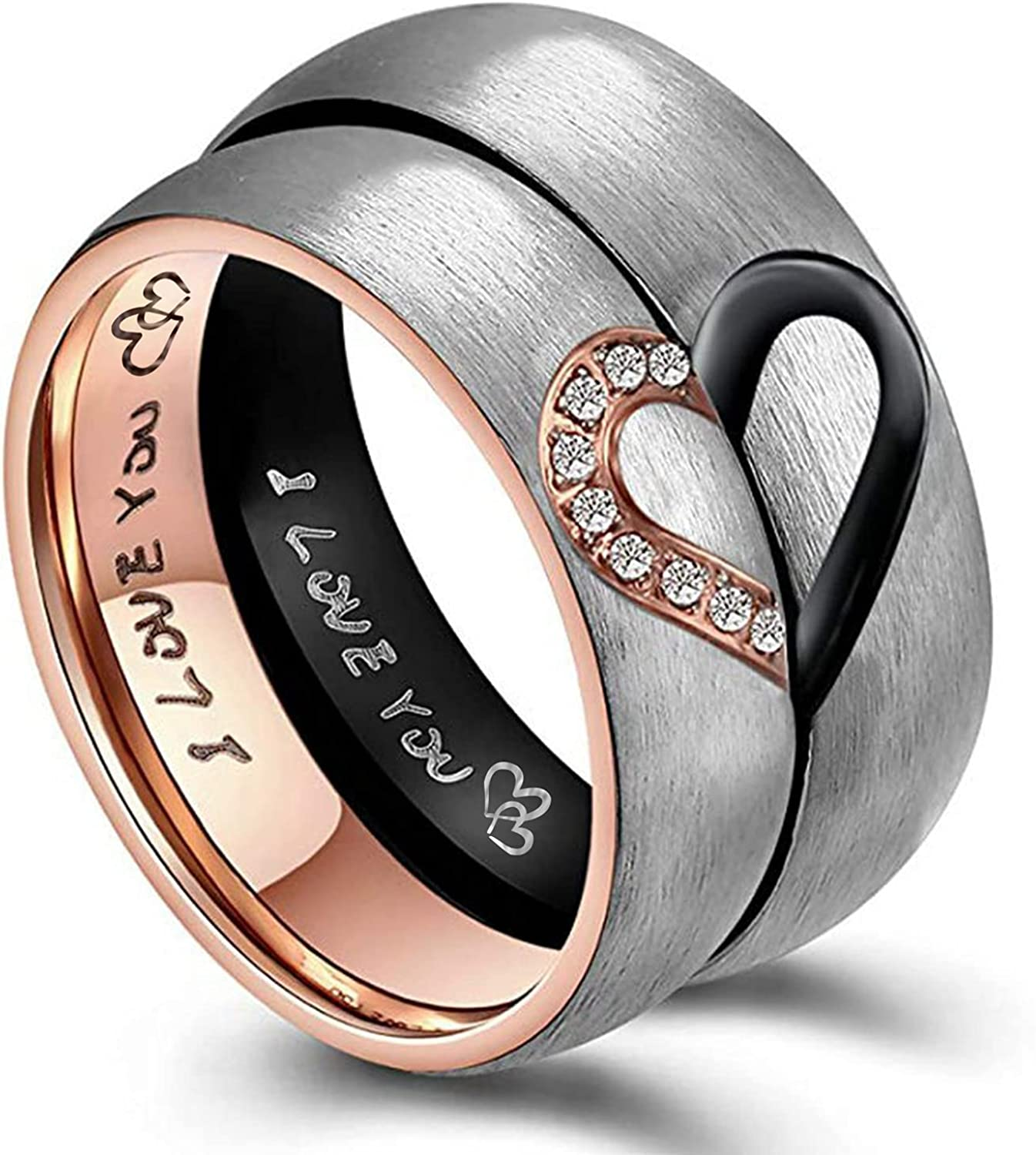 MAXVIN Matching Promise Rings for Couples Custom Engraving Wedding Bands Sets for Him and Her Heart Rings Stainless Steel 6mm Comfort Fit