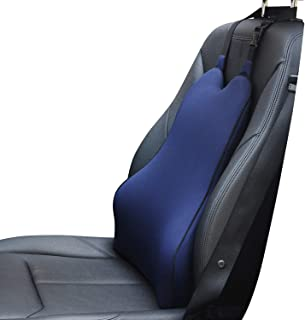 Dreamer Car Back Support Cushion with 2 Straps Designed for Car Seat,Balanced Softness High Density Memory Foam Lumbar Support Pillow with Ergonomic Streamline Designed for Sciatic Pain Relief,Blue