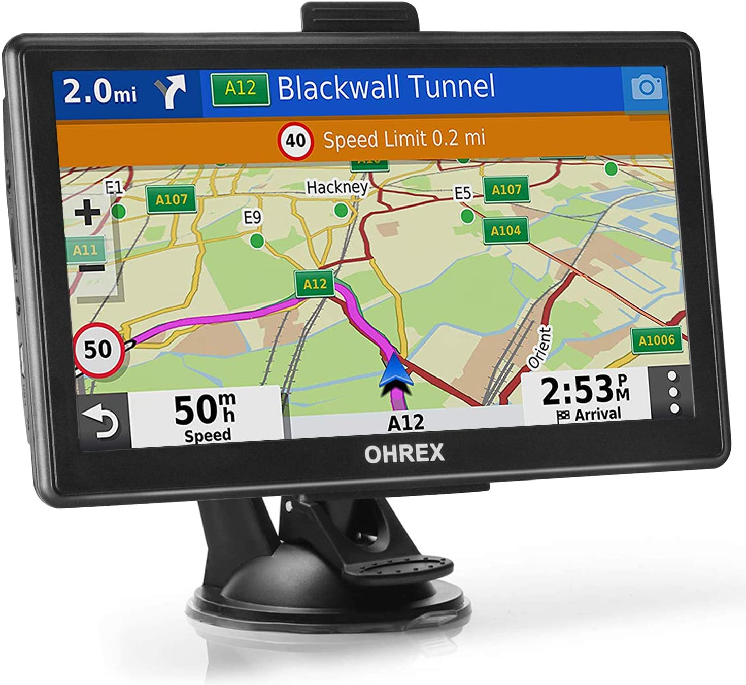 OHREX Bluetooth GPS Navigation for Car Truck RV (7 inch), Trucker GPS Navigation Systems, GPS for Truck Drivers Commercial, Trucking GPS, Motorhomes Truck Route GPS, Free Lifetime Map Updates