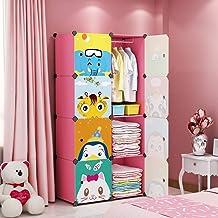 MAGINELS Children Wardrobe Kid Dresser Cute Baby Portable Closet Bedroom Armoire Clothes Hanging Storage Rack Cube Organiz...