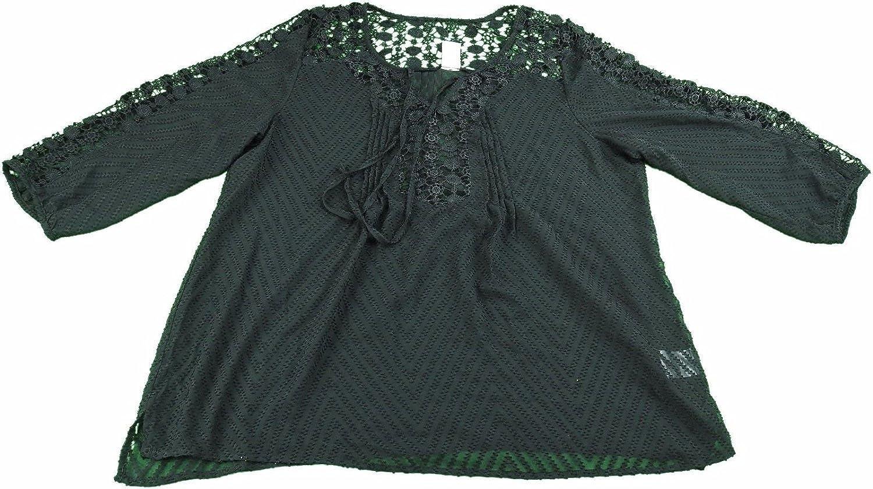 Bila Ladies Size XL Sheer 3 4 Sleeve Blouse Black