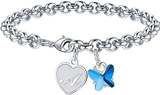 IEFWELL دستبند جذاب دخترانه ابتدایی ، دستبند پروانه ای کریستال برای دختران نوجوان دستبند جذابیت ابتدایی دخترانه هدایای پروانه