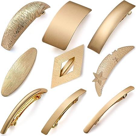 9 pezzi retrò fermagli per capelli in metallo dorato grandi perni per capelli semplici fermagli a clip francesi per donne e ragazze, 9 stili