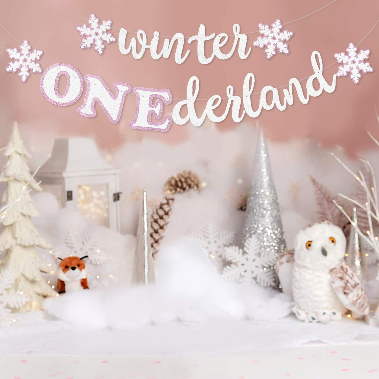 Faisichocalato Winter Onederland Banner, Pink & White Snowflakes Garland  Winter 9st Birthday Party Decorations