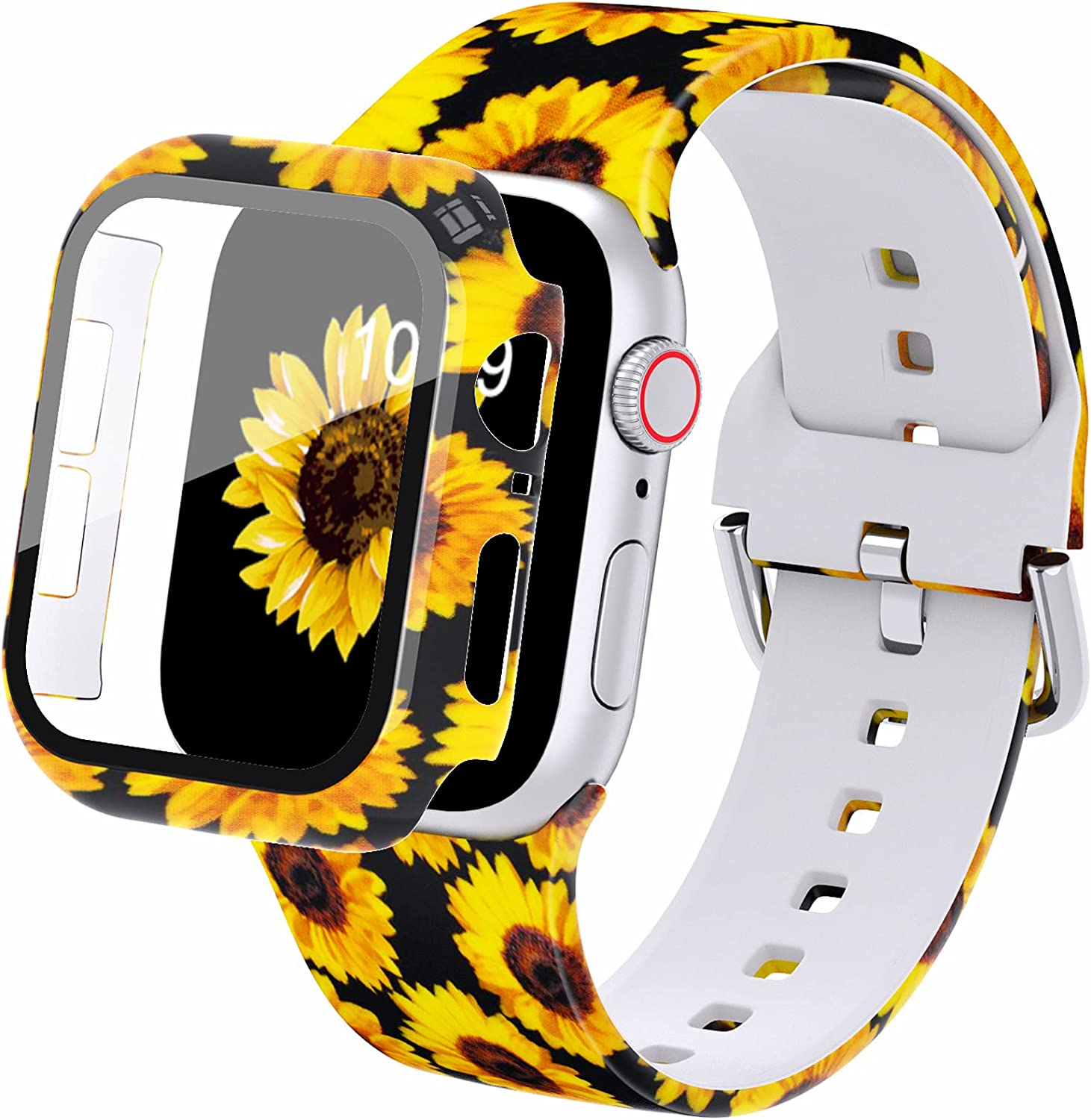 DABAOZA Compatible for Apple Watch Band 38mm with Case, Women Girl Soft Silicone Elastic Pattern Replacement Wristband for iWatch Band Series 3/2/1