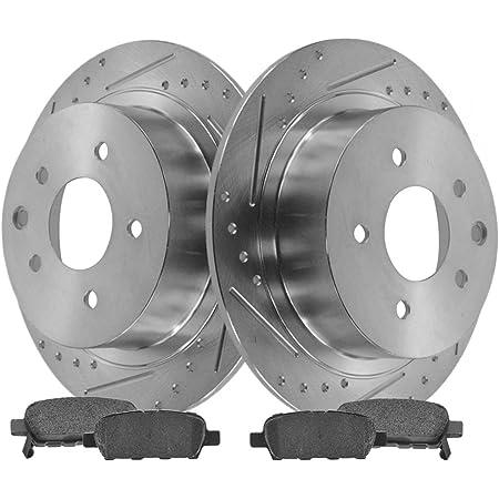 Rear Posi Ceramic Brake Pad /& Performance Drilled Slotted Rotor Kit