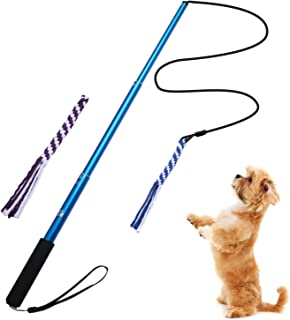 ANG Interactive Dog Tug Toy, Extendable Dog Teaser Wand with 2 Cotton Rope Dog Toy Outdoor Playing for Pulling, Chasing, Chewing, Teasing, Training