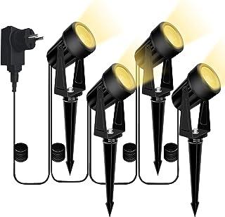 Bomcosy oświetlenie ogrodowe, 4-częściowy zestaw lamp ogrodowych, wbijane w ziemię, DC 12 V, 14 m, IP65, wodoszczelny refl...