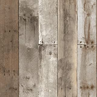 Tempaper Weathered Repurposed Wood | Designer Removable Peel and Stick Wallpaper