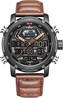 Lixada NAVIFORCE 9160 Man Quartz Watch Dual Time Display Day Month Year Dials Waterproof Night Mode Function Male Wristwatch