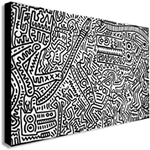 Keith Haring - Monkey Puzzle - Canvas Wall Art Framed Print (30in x 45in Framed)