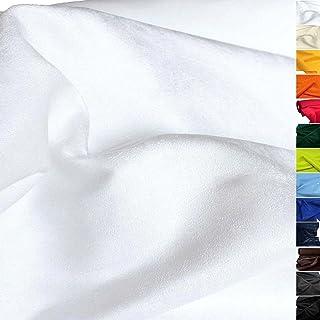 TOLKO weiches Wildleder Alcantara-Imitat als Polsterstoff Meterware | Abriebfester Mikrofaser Bezugstoff/Möbelstoff zum Polstern, Beziehen, Basteln und Dekorieren | 150cm breit Weiß