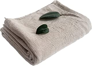 Pure 100% Linen Bath Towel - Stone-Washed 29.5 x 59 inches Softened Lightweight Travel Towel - Thin Waffle Weave Natural F...