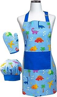 Handstand Kitchen Child's Dinosaur Buddies 100% Cotton Apron, Mitt and Chef's Hat Set