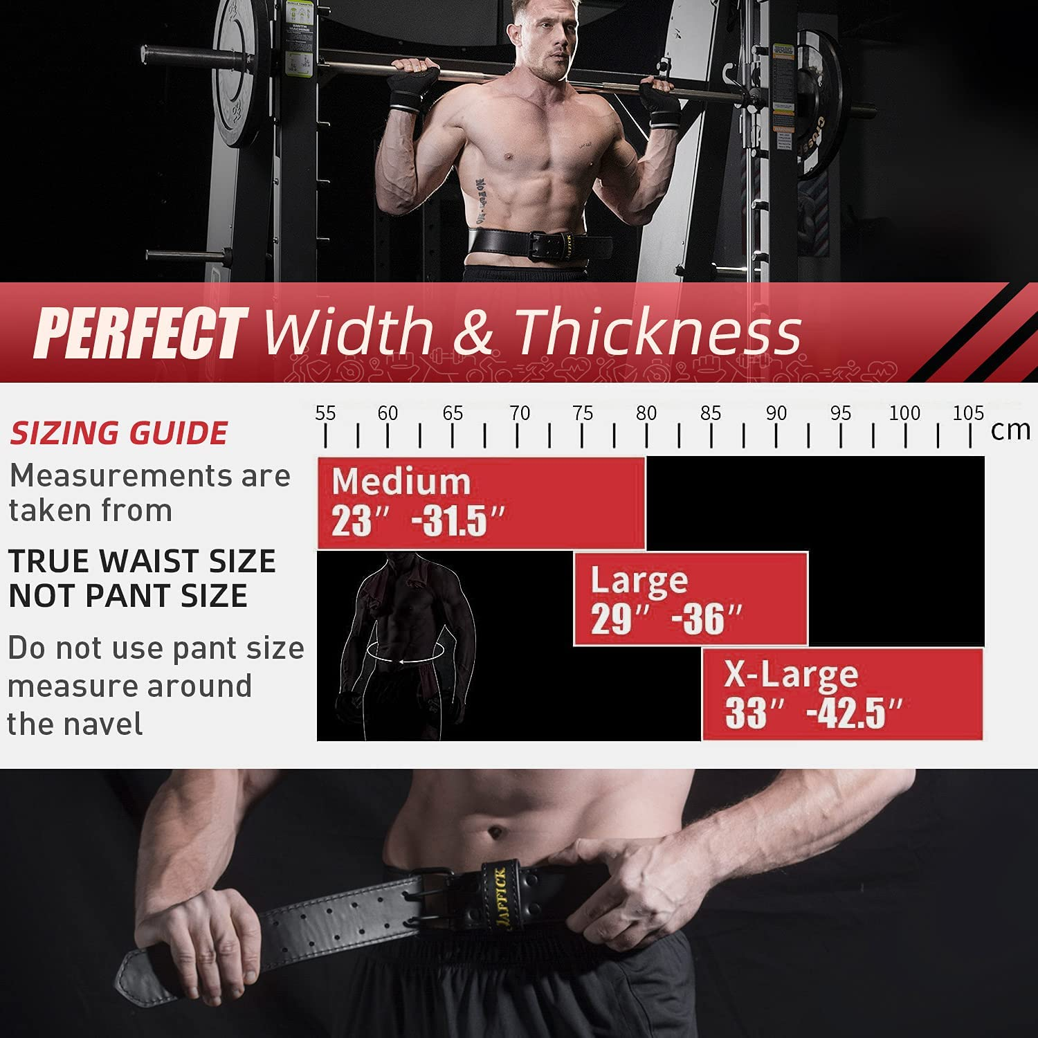 Jaffick Genuine Leather Weight Lifting Belt for Men Gym Weight Belt Lumbar Back Support Powerlifting Weightlifting Heavy Duty Workout Training Strength Training Equipment : Sports & Outdoors