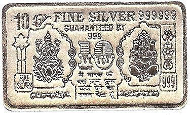 Lucky Choice 999 Pure Silver Coin Bar (Laxmi Ganesh) 10 Gm