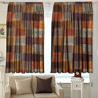 Geometric Blackout Curtain Grunge Checkered and Striped Quilt Pattern Mottled Digital New Retro Design 2 Panel Sets W52 x L45 Inch Caramel Orange