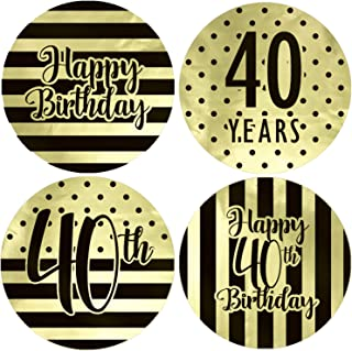 Black and Gold 40th Birthday Party Favor Labels, 1.75 in - Shiny Foil - 40 Stickers