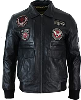 Mens Real Leather Black Bomber Badge Air Force Pilot Flying Jacket