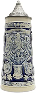 Beer Stein Engraved Germany Coats of Arms Cobalt Blue Lidded Beer Mug by E.H.G. | 1.1 Liter