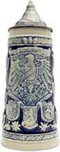 Beer Stein Engraved Germany Coats of Arms Cobalt Blue Lidded Beer Mug by E.H.G. | 1.1 Liter