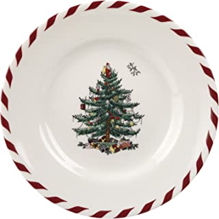 Spode Christmas Tree Peppermint Canape Plate, 6-1/2-Inch, Set of 4