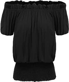 Women Peasant Blouse Ruffle Off Shoulder Boho Tops Vintage Smocked Waist Shirts S-XXL