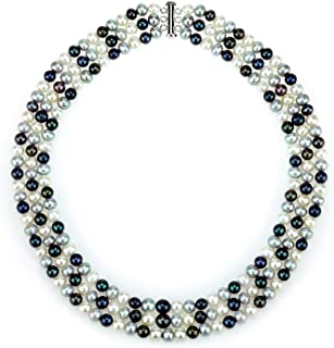 925 Sterling Silver 6.5-7mm Freshwater Cultured Pearl 3-Row Necklace, 18