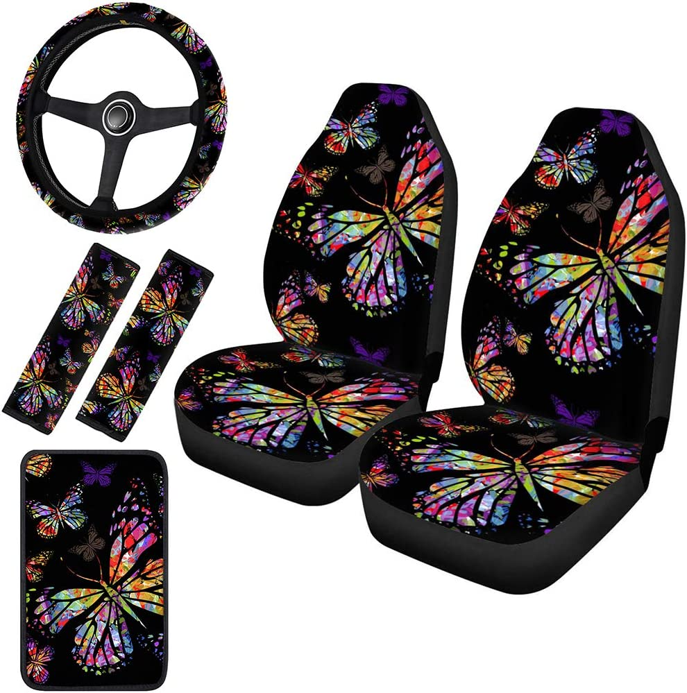 Horeset Watercolor Louisville-Jefferson County Mall Butterfly Design Car Inc Seat Covers Full Cheap mail order specialty store Set