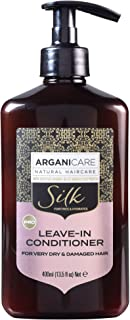 Arganicare Hydrating Natural Organic Argan Oil and Silk Leave-In Conditioner for Very Dry and Damaged Hair Repair Treatment 13.5 fl. Oz.